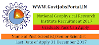 National Geophysical Research Institute Recruitment 2017– 17 Scientist/Senior Scientist