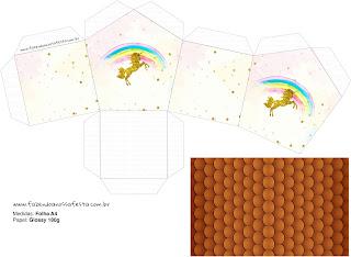 Caja con Forma de Casa para Imprimir Gratis de Fiesta de Unicornios.