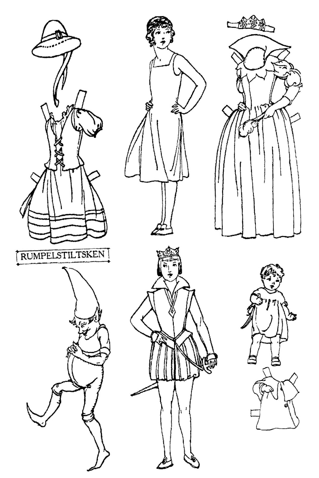 Mostly Paper Dolls Too!: RUMPELSTILTSKEN Cut-Outs