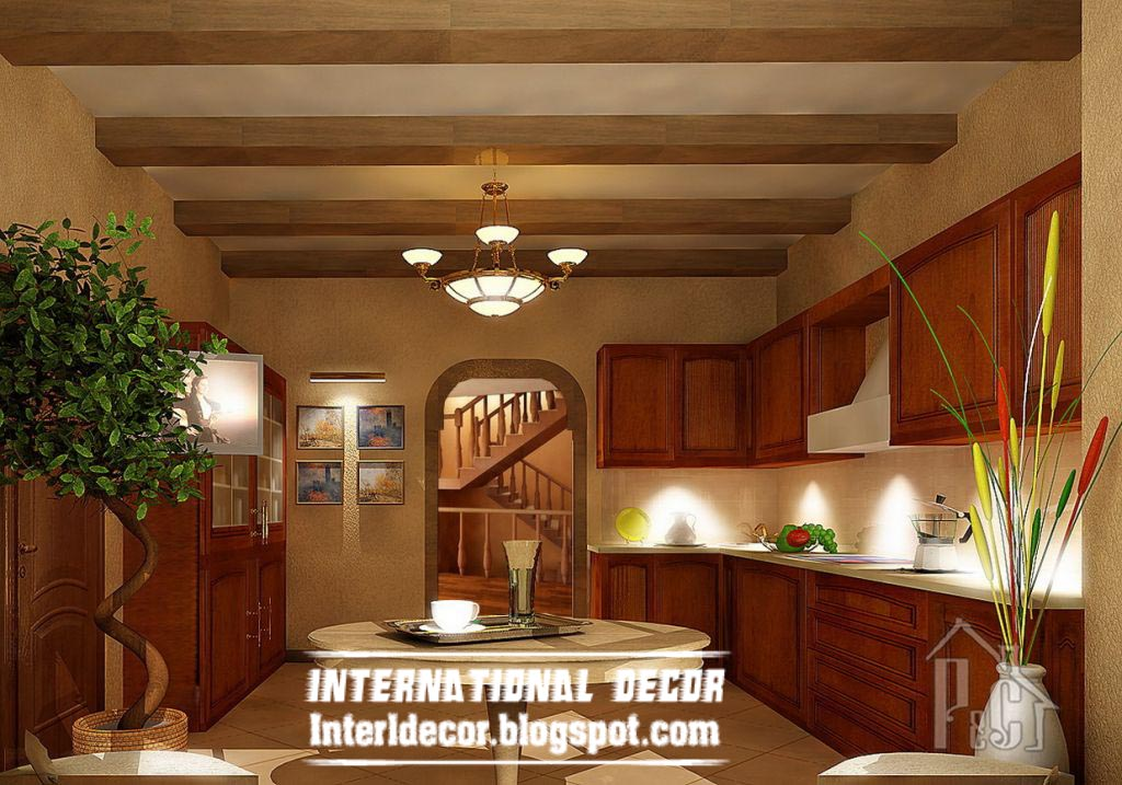 rustic false ceiling design for clic kitchen