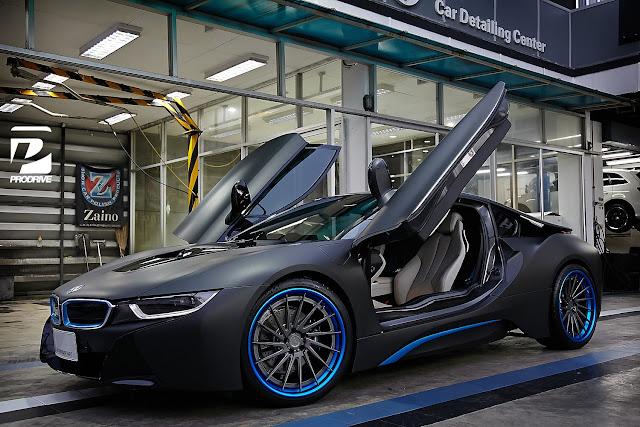 Thai BMW I8 Gets Custom Blue ADV1 Wheels