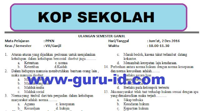 gambar Download Soal Ulangan Semester Ganjil PKN kelas VII Tahun Pelajaran 2016/2017