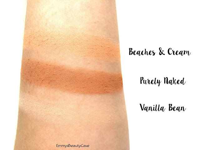 Makeup Geek Vanilla Bean Purely Naked Beaches and Cream Swatches