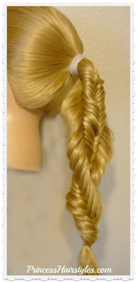 Spiral twist fishtail braid ponytail hairstyle tutorial