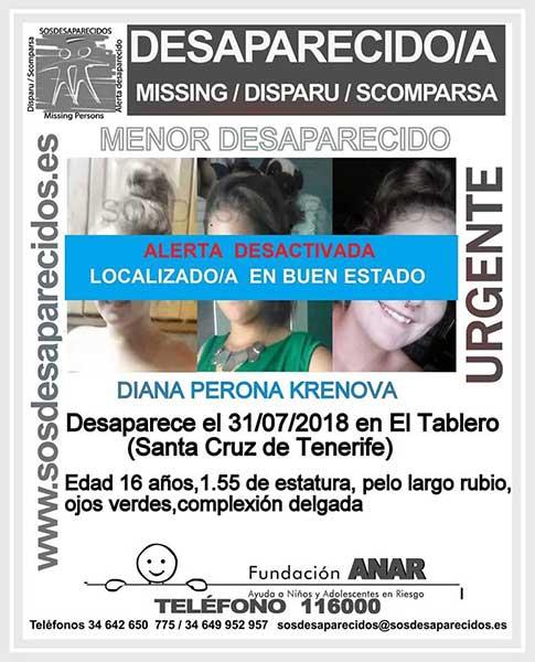 La adolescente de 16 años Diana Perona Krenova que se encontraba como desaparecida en El Tablero, Santa Cruz de Tenerife, localizada en buen estado