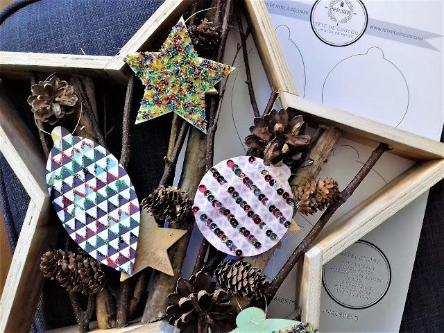 Atelier créatif vacances enfant gratuit à imprimer décoration de boules de Noël Tête de Coucou