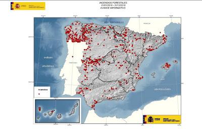 Mapa España Incendios