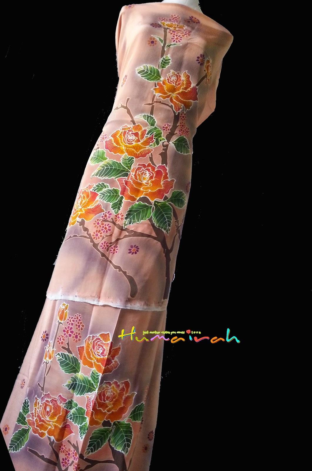 CX86 Batik Sutera Exclusive - Peach Bunga Menaik Handmade 3