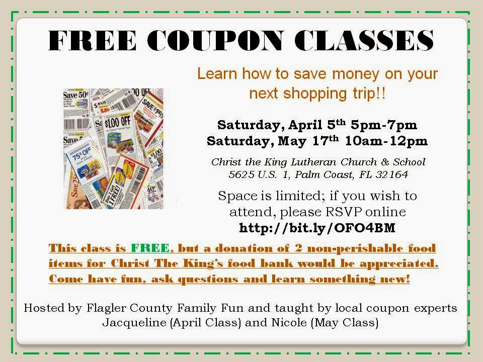 Learn to Coupon for FREE in Palm Coast Flagler County Family Fun - coupon flyer