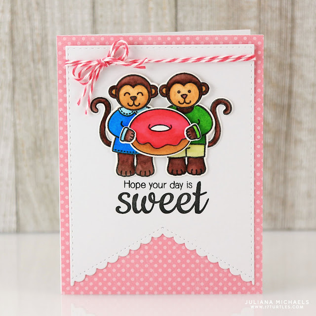 Sunny Studio Stamps: Sweet Shoppe Monkeys with Doughnut Card by Juliana Michaels