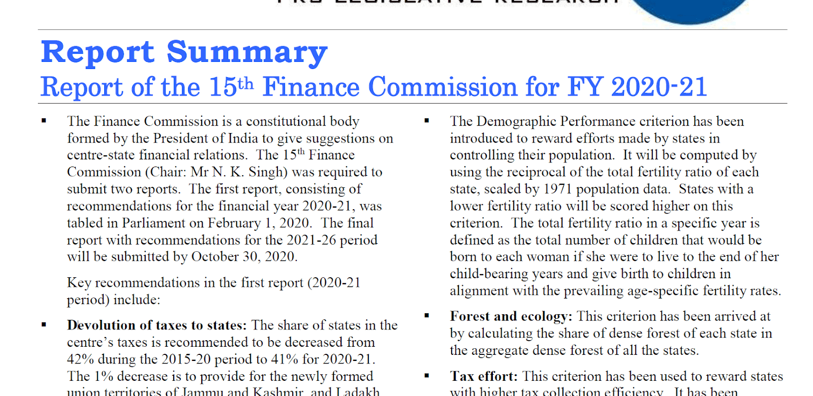 15th FC Report 2020-21