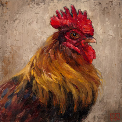 Oil painting of a French Black Copper Maran Rooster ©Shannon Reynolds