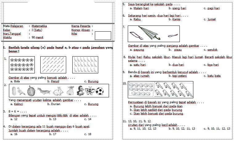 Soal Soal Pecahan Matematika Kelas 3 Sekolah Dasar Sd Semest Soal Uts Semester 2 Kelas 4 Sdmi