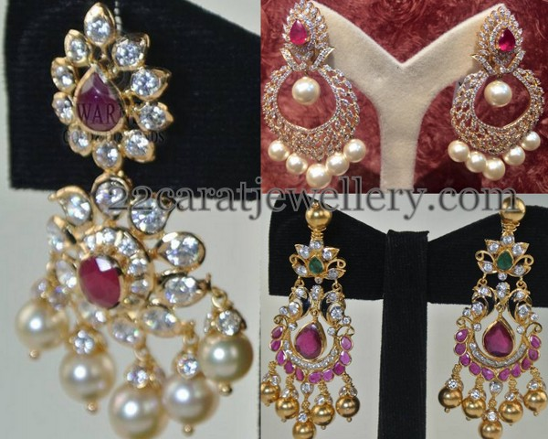 22 Carat Gold Cz Earrings With Rubies And Emeralds Combination Kundan Work Embellished Highlighted Cabochon