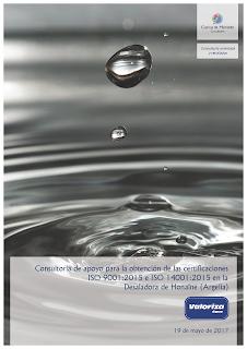 Contrato con Valoriza Agua (grupo Sacyr) para ayudarles a aplicar las nuevas normas ISO 9001 e ISO 14001 en la desaladora de Honaïne (Argelia).