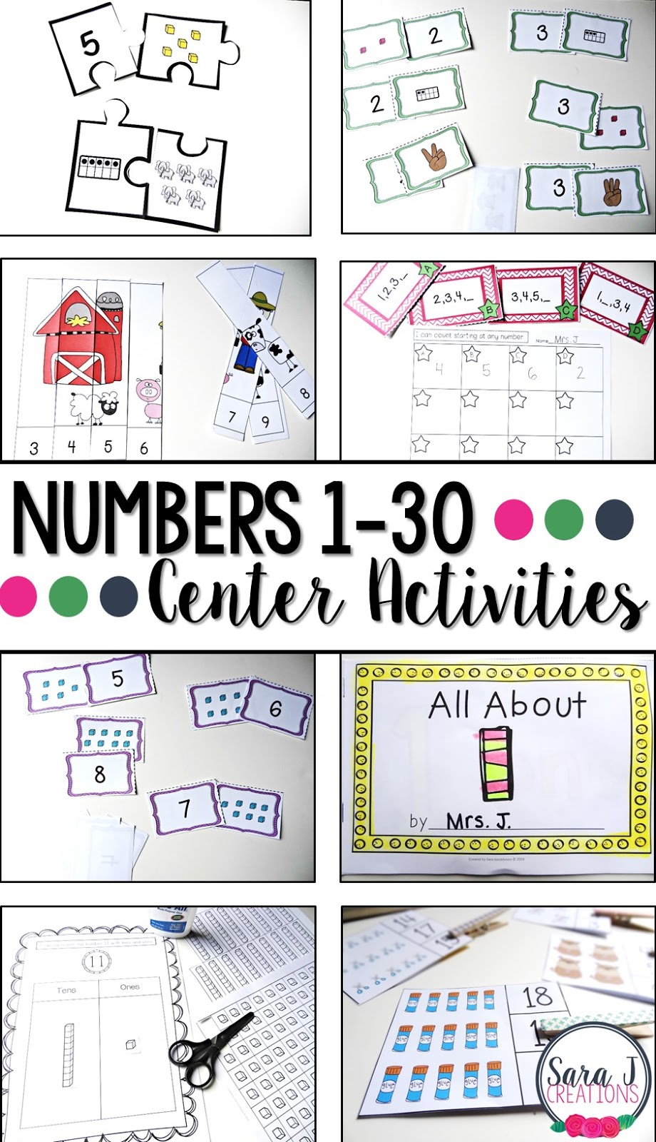 Eight activities for practicing counting.  Perfect for kindergarten or preschool!