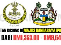 JAWATAN KOSONG TERKINI DI MAJLIS BANDARAYA IPOH MBI - PELBAGAI GRED / GAJI RM1,353.00 - RM9,643.00