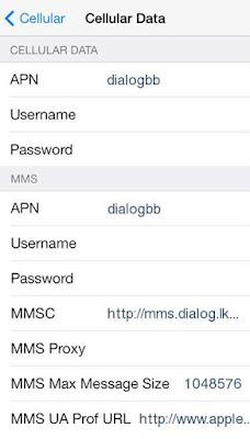 Dialog Mobile APN Settings for iPhone: