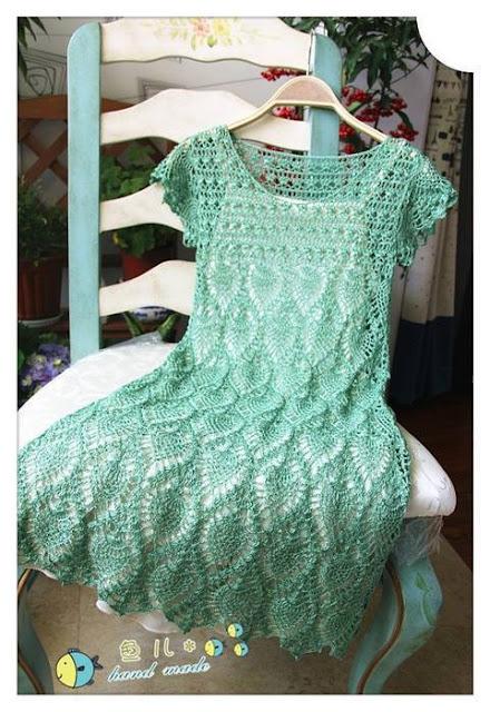 Patrón #1445: Vestido a Crochet