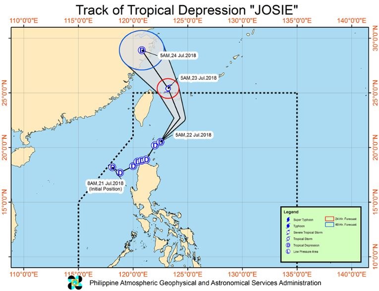 Track of Tropical Depression Josie | Image courtesy of DOST-PAGASA
