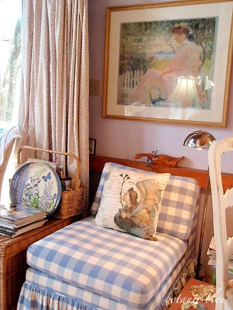 blue-checked-slipper-chair-french-design-medieval-angel-pillow