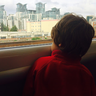 autistic son on train