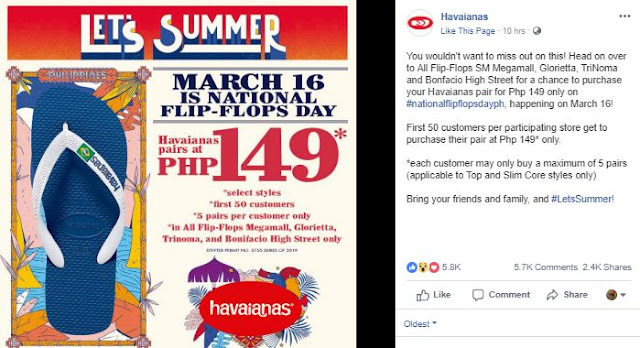 Havainas pairs at 149 php only