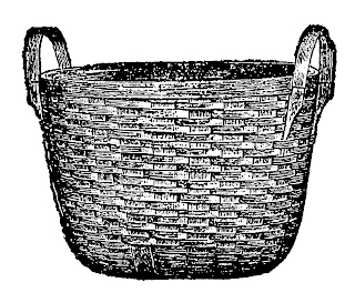 basket laundry wood illustration vintage image clipart