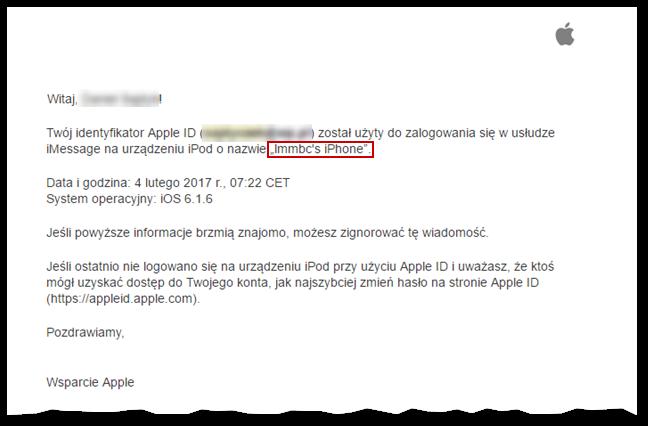 E-mail z informacją o wykorzystaniu Apple ID na innym urządzeniu Apple