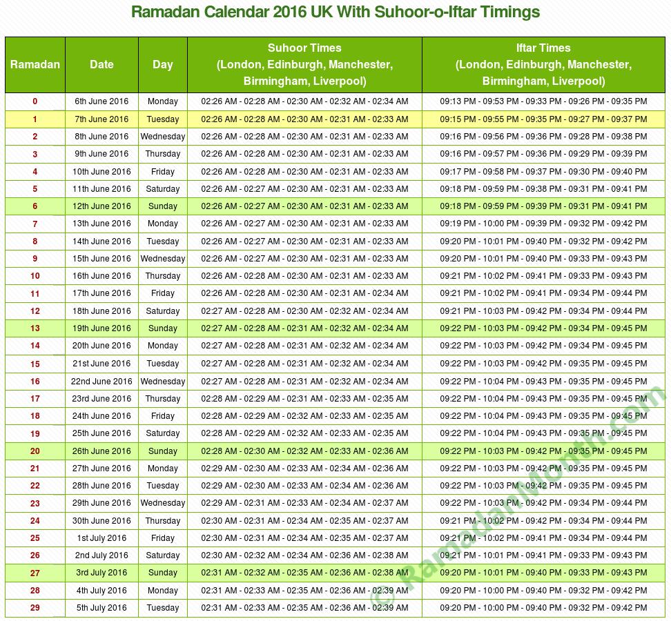 Image Result For Ramadan Calendar Uk London