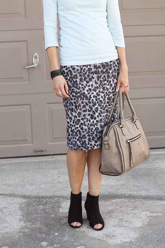 Mint tee, gray leopard pencil skirt and peep toe booties