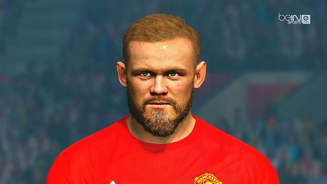 Wayne Rooney Face with 3D Beard PES 2017