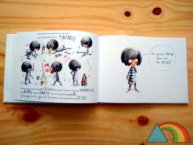 Página interior del álbum ilustrado ¿De qué color es un beso?