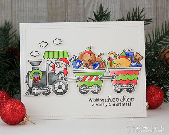 Christmas Train Card by Juliana Michaels | All Aboard for Christmas Stamp Set by Newton's Nook Designs #newtonsnook