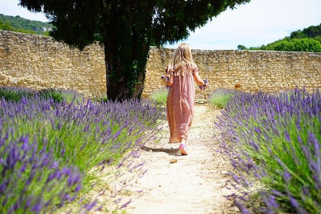 Ei jente rusler rundt blant lavendel. Pixabay.