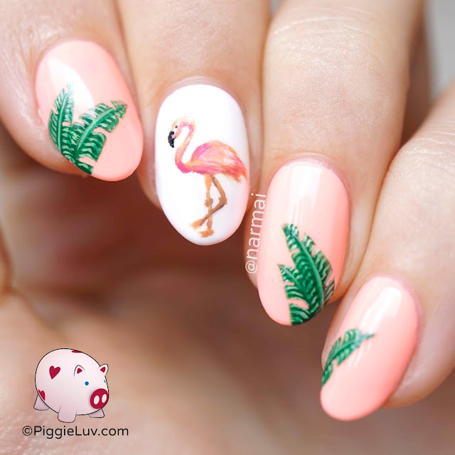Piggieluv Rainbow Bubbles Nail Art: PiggieLuv: Hot Flamin' Flamingo Nail Art