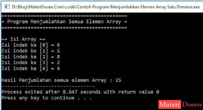 Contoh Program Menjumlahkan Elemen Array Satu Dimensi