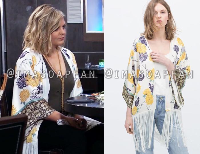 Maxie Jones, Kirsten Storms, Fringed Floral Kimono, Zara, General Hospital, GH