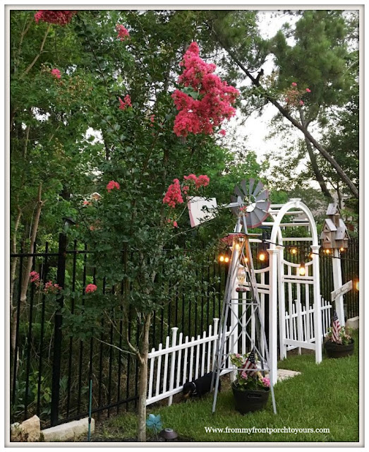 Suburban Farmhouse Backyard- Suburban Country Garden-Windmill-Arbor-Picket Fence-From My Front Porch To Yours