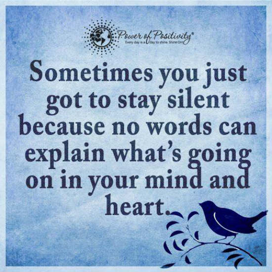 Sometimes You Just Got To Stay Silent Because No Words Can Explain Whatu0027s  Going On In Your Mind And Heart   Quote.