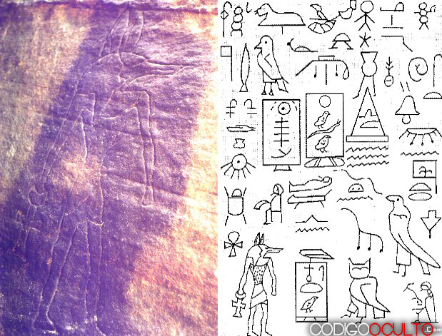 A la izquierda imagen del dios egipcio Anubis del Parque Nacional del Valle del Cazador en Australia. A la derecha recopilación de algunos de los más de 250 jeroglíficos egipcios localizados en este mismo lugar, y que nos narra la llegada accidental de una expedición egipcia en tiempos de la IV Dinastía.