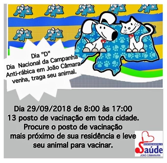 Prefeitura de João Câmara divulga postos da Campanha de Vacinação Antirrábica