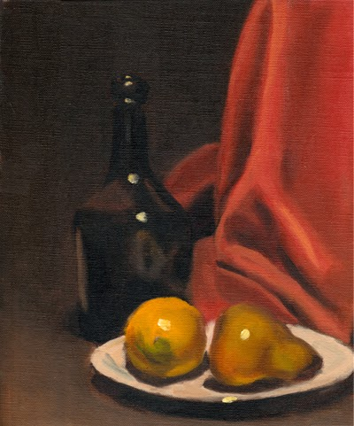 Oil painting of a black bottle beside a light red drape, with a plastic lemon and a plastic pear on a white plate in the foreground.