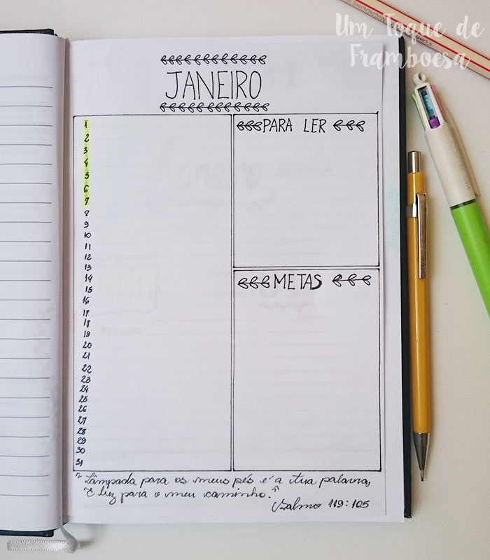 Agenda estilo bullet journal e registro mensal