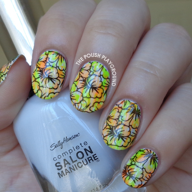 Neon Coral and Green Dry Brush with Black Floral Stamping Nail Art