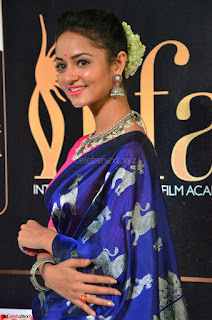Shanvi Looks Super Cute in Pink Backless Choli Blue Saree at IIFA Utsavam Awards 2017 18.JPG