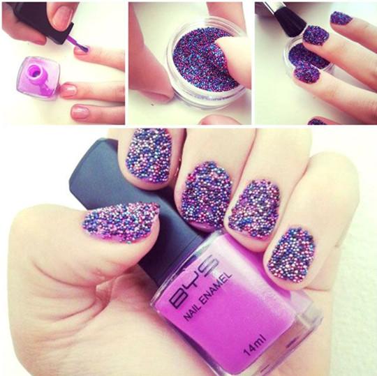 purple Caviar Nails ideas for bridal 2016