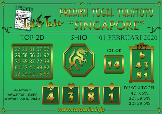 Prediksi Togel SINGAPORE TULISTOTO 01 FEBRUARI 2020