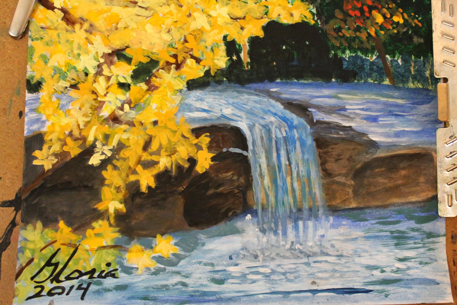 Natural waterfall sketch by Gloria Poole of Missouri and Georgia; 27-April-2014; acrylics