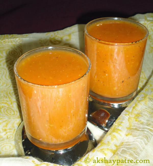tomato soup in serving glass